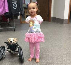 Disabled baby with her disabled dog!