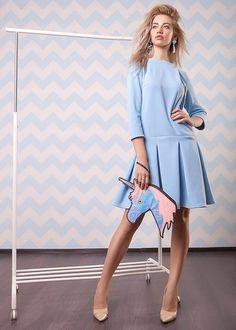 Blue Dress | Голубое платье - платье, платье на заказ, повседневное платье, платье с рукавами