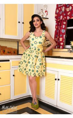 Pinup Girl Clothing- Buttercup Belle Dress in Yellow | Pinup Girl Clothing