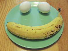 """This Egg Banana """"Smile"""", with hard boiled eggs that have been peeled ahead of time, make for a fast, healthy breakfast. You can throw in a banana or some other fruit for some added nutritional value. This kind of healthy meal snack is great for anyone in your house that is dairy-free and/or gluten-free. #enjoylife #eee"""