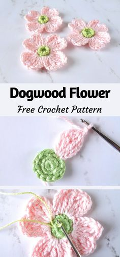 Crochet Applique Patterns Free, Crochet Motifs, Crochet Appliques, Yarn Flowers, Dogwood Flowers, Crochet Amigurumi, Crochet Yarn, Crochet Birds, Crochet Animals