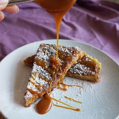 caramelised coconut french toast with warm rum spiked caramel