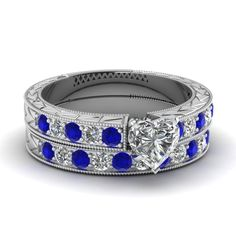 white-gold-heart-white-diamond-engagement-wedding-ring-with-blue-sapphire-in-pave-set-FDENS395HTGSABL-NL-WG