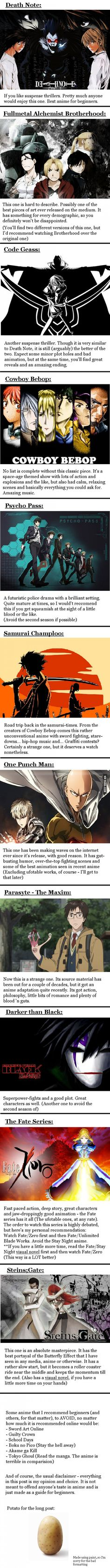Anime For all those people who are interested in anime, but don't know where to start, here's a simple guide (excuse the sloppiness) - More memes, funny videos and pics on Animes To Watch, Anime Watch, Neue Animes, Manga Anime, Anime Naruto, Anime Suggestions, Anime Recommendations, Cosplay Anime, Good Movies To Watch