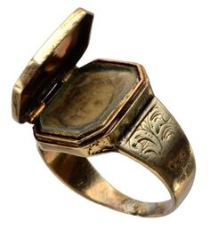 The Ancient Serpent — 1847 Early Victorian Locket Signet Ring, 14K Gold,...