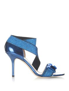 Christopher Kane Safety Buckle Lurex-Strap Sandals