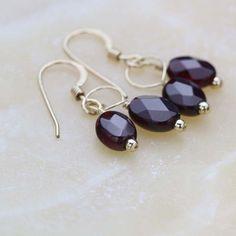 Garnet Gemstone Earrings January Birthstone Earrings by Jularee