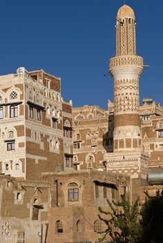 "Architecture of UNESCO World Heritage City of Sana'a, Yemen.  Sana'a is the capital of Yemen and the center of Sana'a Governorate. The city is not part of the Governorate, but forms the separate administrative district of ""Amanat Al-Asemah"""