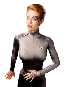 Of course our all time favorite: Seven of Nine | Seven of Nine was born human as Annika Hansen. She and her parents were the first people who were assimilated by the Borg. When Voyagers captain Janeway discovered Seven of Nine, she decided to transform her back to human. Janeway believed in Seven as an 'individual' and 82% of her Borg implants were removed. 'Seven' never adopted back her human name. She liked to be called 'Seven'.