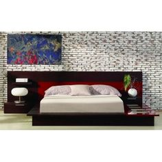 Rimini Contemporary walk on Platform Bed Frame with Night Light, Nightstands, Dresser and Mirror $2700