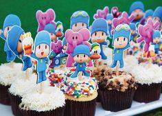 decoracion-de-pocoyo-para-fiestas-infantiles-postres Baby 1st Birthday, Boy Birthday Parties, Happy Birthday, Ideas Para Fiestas, Cupcake, Party Time, First Birthdays, Snack Tables, Adidas