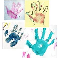 my almost seven year old's painted handprints through the years