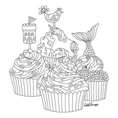 fantasy cupcakes to color with Color Therapy: http://www.apple.co/1Mgt7E5 #colortherapyapp #coloring