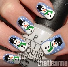 Snowmen nails    Great for Christmas Time