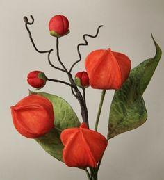 {Fun orange Chinese Lantern by jhcakes} Sugar Paste Flowers, Wafer Paper Flowers, Icing Flowers, Fondant Flowers, Clay Flowers, Edible Flowers, Chinese Cake, Flower Spray, Chinese Lanterns