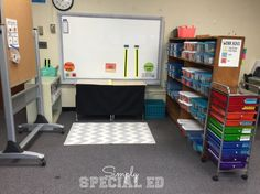 TEACCH Task Boxes, Binder Tasks and Independent work area! Check out this calm Autism Classroom Setup!
