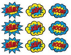 Decorations - Superhero Boom Bam Zap Pow Printable Digital Clip Art