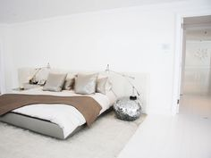 :: BEDROOMS :: love the all white interior, and the colour palette for a lighter bedroom interior also love the upholstered headboard #bedrooms