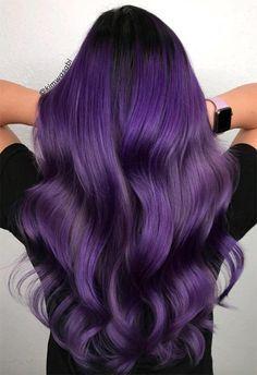 63 Purple Hair Color Ideas To Swoon Over: Violet & Purple Hair Dye Tips – HairStyles - Modern Dark Purple Hair Dye, Dark Violet Hair, Violet Hair Colors, Hair Color Purple, Hair Dye Colors, Dyed Tips, Hair Dye Tips, Dye Hair, Hair Shades