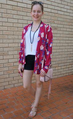 29b63e5edeb6 Cotton On Leah kimono in Juddy floral cerise with white v neck tee black denim  shorts