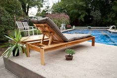 DIY Single Lounger for the Simple Modern Outdoor Collection - love Ana White Ana White, Used Outdoor Furniture, Diy Furniture Plans, Rustic Furniture, Furniture Layout, Furniture Makeover, Antique Furniture, Pool Furniture, White Furniture