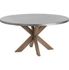 Halton Industrial Loft Galvanized Iron Wood Circular Dining Table