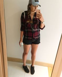 Zara Checked shirt, Levi's raw edge shorts, Michael Kors backpack and Nike Pegasus trainers