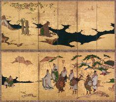 Attributed to Kano Takanobu (Japanese, 1571–1618) Meeting of Emperor Wen and Fisherman Lü Shang (c. 1600)