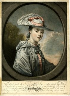The Enchantress. Portrait of Sarah Crawford, almost half-length in an oval frame, directed to right, looking towards the viewer, wearing a hooded cloak with a high sheen, tied with a bow under the nape, and a wide-brimmed hat set low over the forehead, hair tied with a bow at the nape; after Murray. Mezzotint printed in colour British Museum 1953,0214.36