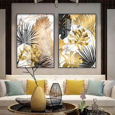Pósteres de pintura en lienzo de hojas doradas de plantas nórdicas e imágenes artísticas de pared para sala de estar dormitorio comedor decoración moderna - AliExpress Mobile