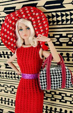 Barbie Houndstooth Barrel Bag