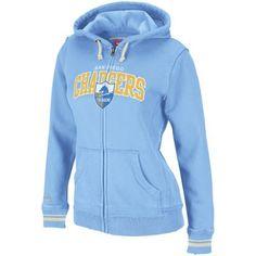 Mitchell & Ness San Diego Chargers Ladies Powder Blue Arch Rivals Full Zip Hoodie Sweatshirt