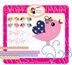 Forth of July Digital Cute Birds Clipart by PaintingFairyClipart, $4.00  Printable Scrapbook Graphics National Celebrations Flags Images Personal & Commercial Use,  Everything Else Graphic Design scrapbooking clipart card design supplies handmade invitations designer resource cu bird embellishments happy birthday USA vintage style colors very first red blue printable polka dots heart wings clipart independence day 4th white stars clipart borders frames party