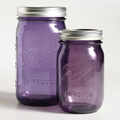 Purple Glass Heritage Ball Wide Mouth Jars, Set of 6 Storage Container Homes, Food Storage Containers, Mason Jar Kitchen, Mason Jars, Bedroom Storage Ideas For Clothes, Ikea Makeup, Storage Room Organization, Jelly Jars, Canning Jars
