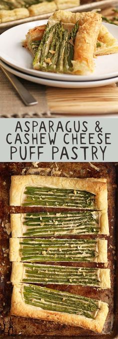This vegan asparagus and cashew cream tart is made with fresh asparagus, lemony cashew cream, and puff pastry for the perfect Easter or Mother's Day side dish. Click the photo for the full recipe.