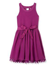 Look at this #zulilyfind! Purple Wine Crochet Trim Garden Dress - Toddler & Girls #zulilyfinds