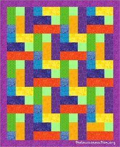 "4 1/2"" Strip Quilt, free pattern by Linus Connection Volunteer Osie!"