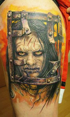 Wicked Horror loves genre fans who go above & beyond to show their love for their favorite horror movies. Here we take a look at some badass horror tattoos. Face Tattoos, Leg Tattoos, Body Art Tattoos, Sleeve Tattoos, Cool Tattoos, Tatoos, Texas Tattoos, Horror Movie Tattoos, Horror Movies