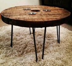 Reclaimed Industrial Cable Reel Style Hendricks Gin Table