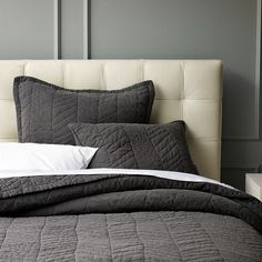 A hand-drawn interpretation of a traditional herringbone inspired this lightweight quilt's subtle graphic stitching