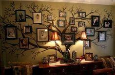 Family tree made of family members' photos.