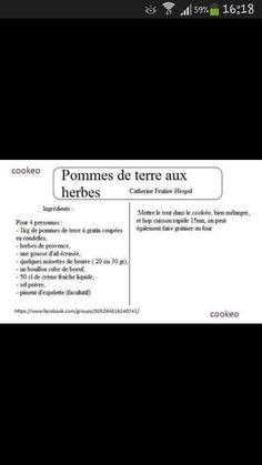 Pommes de terre aux herbes Cookeo Recette, Pommes, Herbe, Pomme De Terre,