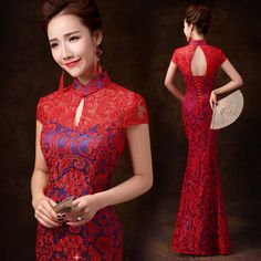 Red lace blue lined mandarin collar floor length mermaid cheongsam – Modern Qipao