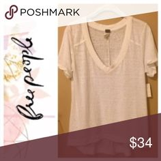 🦋Free People🦋 V-neck Tee 🦋Free People🦋 V-neck Tee. Size Small. Flowy fit. Perfect with a bralette. Cream/White NWT.                                                   💥Trades Welcome💥 Free People Tops Tees - Short Sleeve