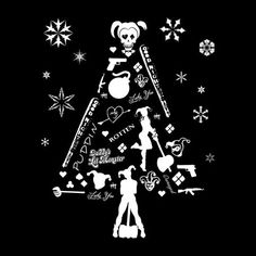 Suicide Squad Harley Quinn Christmas Tree Silhouette White