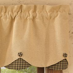 Check out the deal on Burlap and Black Check Scalloped Valance at Primitive Home Decors