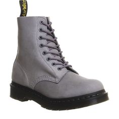 Dr. Martens 8 Eyelet Lace Up Boots (40.865 CRC) ❤ liked on Polyvore featuring shoes, boots, ankle booties, ankle boots, grey nubuck, women, gray bootie, gray short boots, grey booties and gray booties