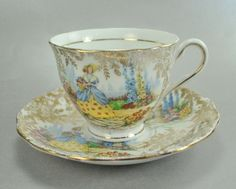 Vintage Colclough Lady In Garden Bone China Cup England  $15.75 at CatnuttiToo