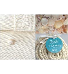 Kocyk tkany z bawełny organicznej Poofi kremowy