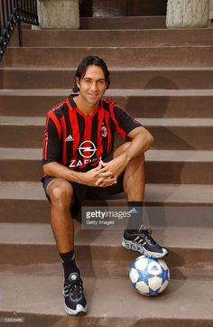 Alessandro Nesta of the AC Milan soccer team poses during a Portrait session July 2005 in New York City. Nesta is in New York for part of AC Milan's U. Alessandro Nesta, Ac Milan, Legends Football, Football Wallpaper, Square Photos, Champions, Best Player, Football Players, Times Square